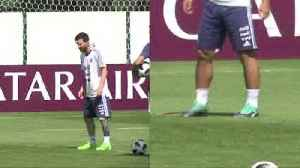 Argentina train ahead of their crucial match with Nigeria.