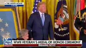 Trump has tender moment and laugh with Medal of Honor recipient's widow [Video]
