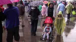 Switzerland and Sweden fans won't let the rain spoil the fun [Video]