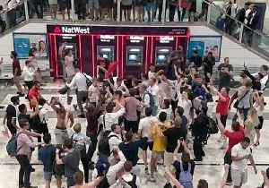 'It's Coming Home' - England Fans Celebrate Win Over Colombia in London's Liverpool Street Station [Video]