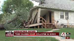 KCMO home partially collapses as tree comes crashing down on top of it [Video]