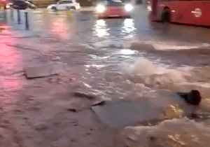 Burst Water Pipe Transforms London's Bow Road Into 'Pond' [Video]