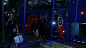 Croatia arrive to hotel in song after defeating Russia [Video]