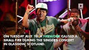 Bruno Mars Temporarily Halts Concert After Stage Catches Fire [Video]