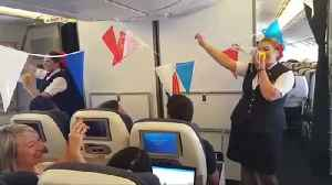 News video: England fans get World Cup themed in-flight safety briefing