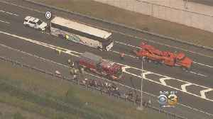 Tour Bus Crash In Bordentown Injures 15 On New Jersey Turnpike [Video]