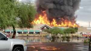 Roof Collapses as Flames Engulf Phoenix Safeway [Video]