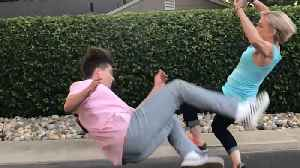 Mom And Son Duo Perform Cool Kick Trick [Video]