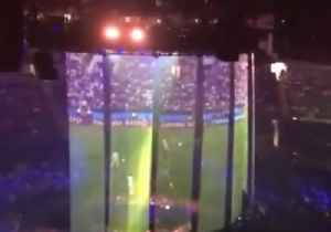 News video: Justin Timberlake Projects England Semi-Final on Stage Before London Gig