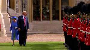 News video: Trump makes abrupt stop during inspection of honour guard with Britain's Queen