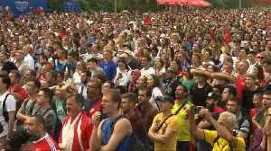 Belgium fans celebrate victory over England [Video]