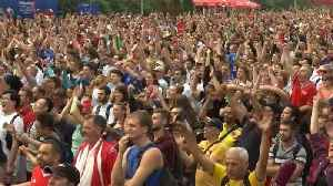 Belgium fans celebrate England victory in Moscow fan zone [Video]