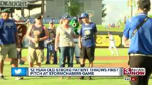 News video: 12-year-old stroke victim throws first pitch at Storm Chasers game
