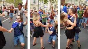 Awkward moment man proposes during world cup celebrations only to be rejected in front of football fans [Video]