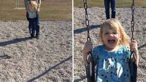 A push on the swings takes a hilarious turn: kid kicks mum in face [Video]