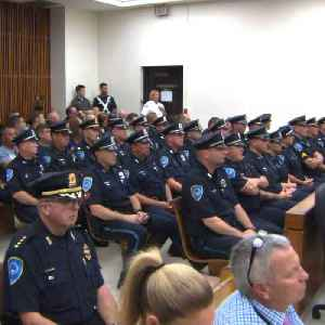Police officers fill courtroom as murder suspect faces judge [Video]