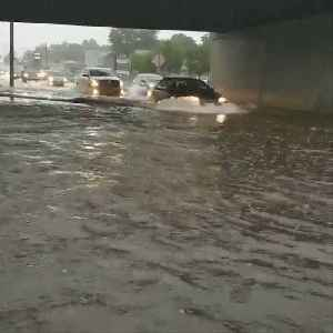 Torrential rain causes Route 9 to flood [Video]