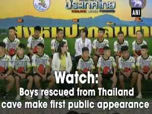 Watch: Boys rescued from Thailand cave make first public appearance [Video]