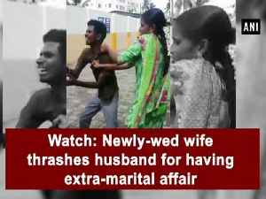 Watch: Newly-wed wife thrashes husband for having extra-marital affair [Video]