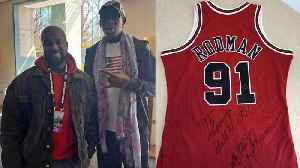 Kanye & Dennis Rodman Bonded Over Shared Love for Chicago; Rodman Gifts Kanye With Signed Jersey [Video]
