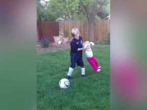 Adorable Tot Girl Learns How To Play Soccer [Video]