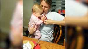 Baby Girl Loves Drinking Water From A Big Cup [Video]