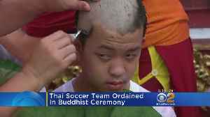 Thai Soccer Team Ordained In Buddhist Ceremony [Video]