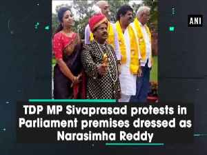 TDP MP Sivaprasad protests in Parliament premises dressed as Narasimha Reddy [Video]