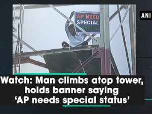 Watch: Man climbs atop tower, holds banner saying 'AP needs special status' [Video]