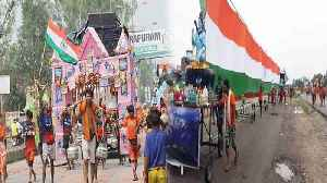 Kanwar Yatra 35 Pilgrims shows Patriotism, Carries 361 feet long tricolour [Video]