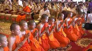 Thai cave boys leave stint as monks [Video]