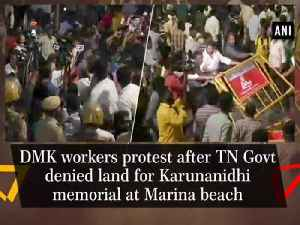 DMK workers protest after TN Govt denied land for Karunanidhi memorial at Marina beach [Video]