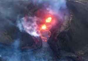 Helicopter Footage Shows Reduction in Lava in Kilauea Volcano Fissure [Video]