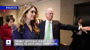 Trump Officials Want Hope Hicks to Join 2020 Campaign [Video]