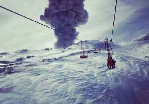 Chairlift Carries Skier Towards Erupting Chilean Volcano [Video]