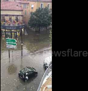 Streets in south of France flooded after heavy storms [Video]