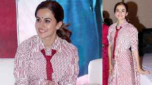 Taapsee Pannu matches saree with a tie, sets New Style statement ; Watch Video | FilmiBeat [Video]