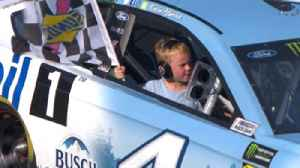 News video: Kevin Harvick scores seventh win of the year and celebrates with his son Keelan | 2018 MICHIGAN