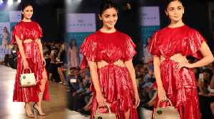 Alia Bhatt looks sassy in a red metallic sheen dress by Prabal Gurung | FilmiBeat [Video]