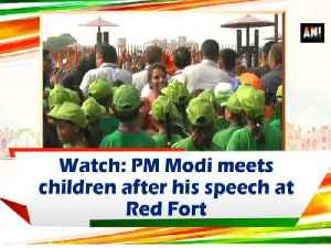 Watch: PM Modi meets children after his speech at Red Fort [Video]