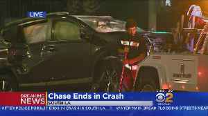 2 Car Chase Suspects Hospitalized After Crash Into SUV [Video]