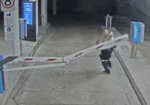 Police Hunt Man Caught on Camera Running Into Boom Gate [Video]
