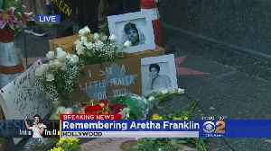 Fans Bring Flowers, Messages To Aretha Franklin's Walk Of Fame Star [Video]