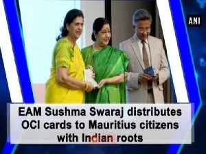 EAM Sushma Swaraj distributes OCI cards to Mauritius citizens with Indian roots [Video]