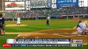 Sister Mary Jo throws out first pitch [Video]