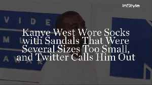 Kanye West Wore Socks with Sandals That Were Several Sizes Too Small, and Twitter Calls Him Out [Video]