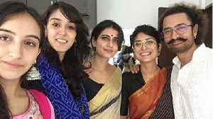 Fatima Sana Shaikh & Sanya Malhotra wear saree in Aamir Khan Eid celebration | FilmiBeat [Video]