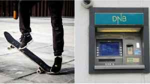 Skater's painful trip to ATM [Video]