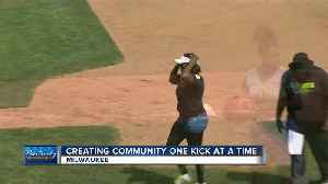 Brothers blow off steam with kickball league [Video]