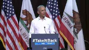 News video: Former President Obama Urges Californians to Vote, `Restore Some Sanity in Our Politics`
